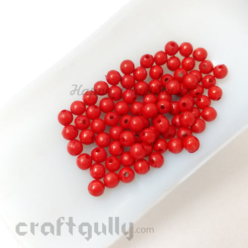 Acrylic Beads 6mm - Round - Red - 50 Beads