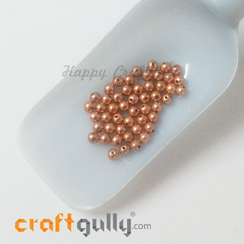 Acrylic Beads 4.5mm Round - Copper - 50 Beads