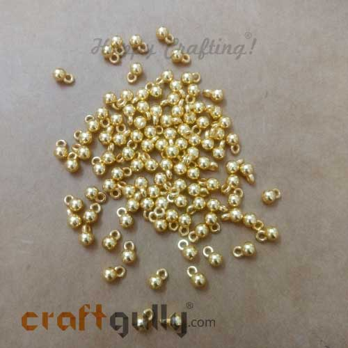 Charms 6mm Acrylic - Round - Golden Finish - 5gms