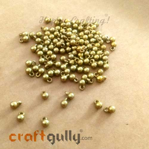 Charms 6mm Acrylic - Round - Bronze Finish - 5gms