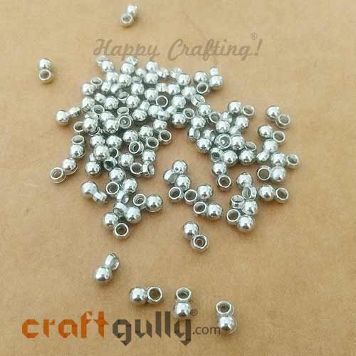 Charms 7mm Acrylic - Round - Silver Finish - 10gms