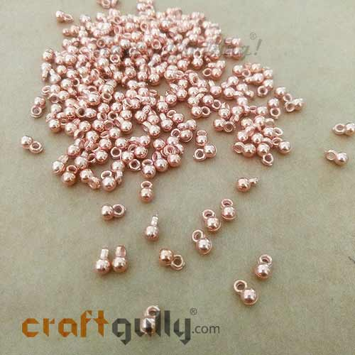 Charms 7mm Acrylic - Round - Copper Finish - 10gms