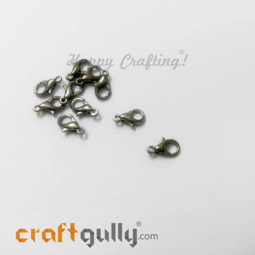 Clasps - Lobster Claw 10mm - Gun Metal Finish - Pack of 10