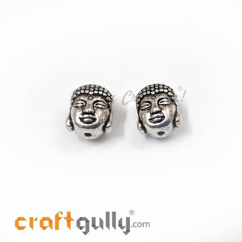 German Silver Beads 11mm - Buddha Silver Finish - 2 Beads