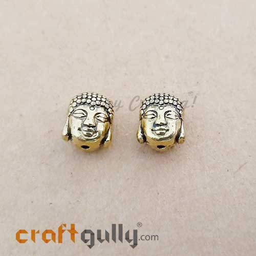 German Silver Beads 11mm - Buddha Golden Plating - 2 Beads