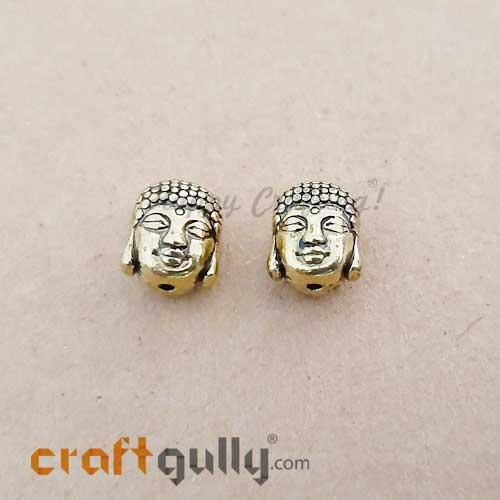 German Silver Beads 11mm - Buddha Golden Plating - 2 Beads