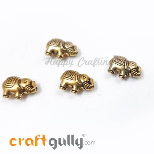 German Silver Beads 13mm - Elephant Golden Plating - 4 Beads