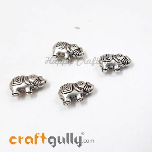 German Silver Beads 13mm - Elephant Silver Finish - 4 Beads