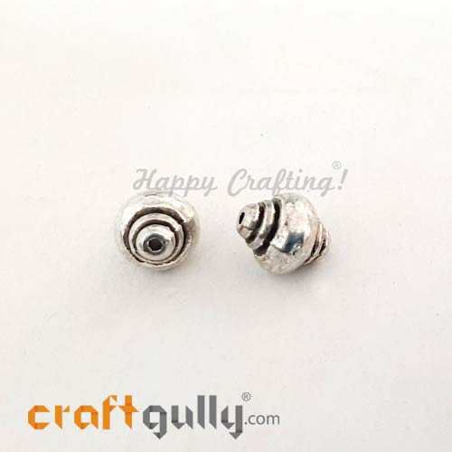 German Silver Beads 10mm - Design #1 Silver Finish - 2 Beads