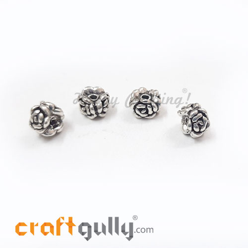 German Silver Beads 6mm - Rose 3 Sided Silver Finish - 4 Beads