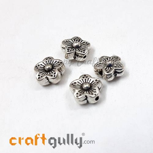 German Silver Beads 8.5mm - Flower #2 Silver Finish - 4 Beads