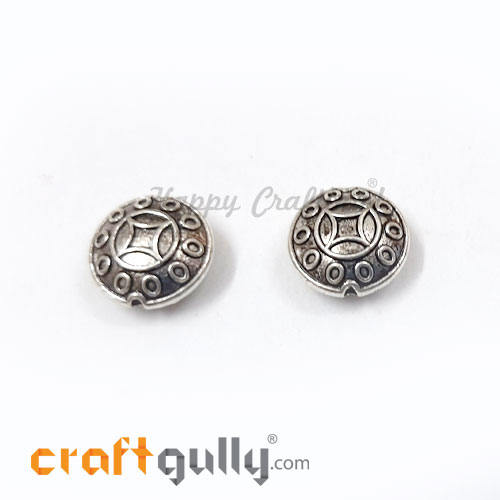 German Silver Beads 12.5mm - Disc #2 Silver Finish - 2 Beads