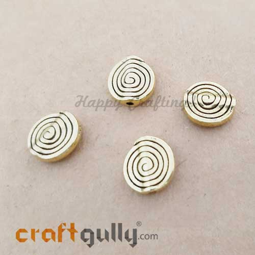 German Silver Beads 11.5mm - Spiral Golden Plating - 4 Beads