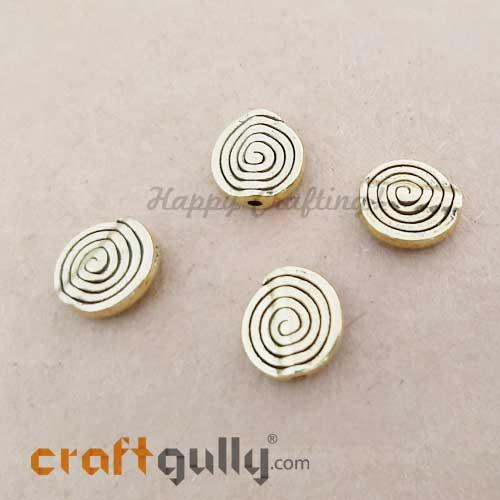 German Silver Beads 11.5mm - Spiral Golden Plating - 4 Beads