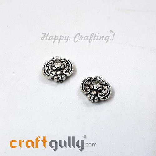 German Silver Beads 10mm - Motif #1 Silver Finish - 2 Beads