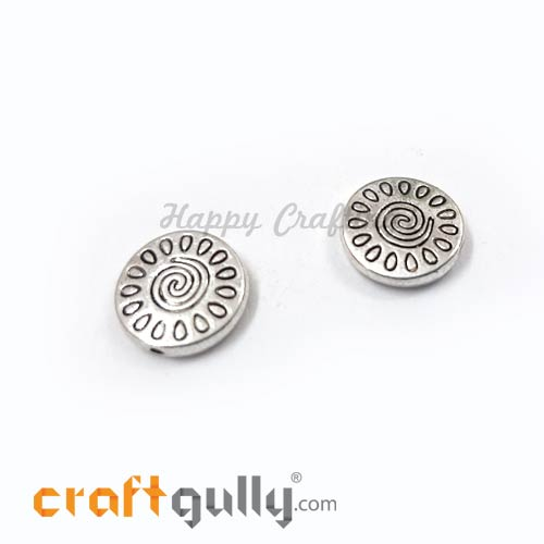 German Silver Beads 13mm - Disc #1 Silver Finish - 2 Beads