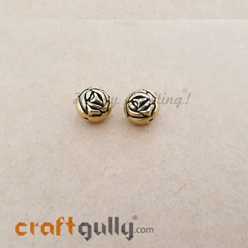 German Silver Beads 9mm - Rose Golden Plating - 2 Beads