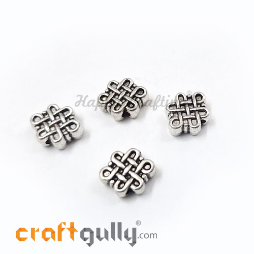 German Silver Beads 9mm - Celtic Knot Silver Finish - 4 Beads