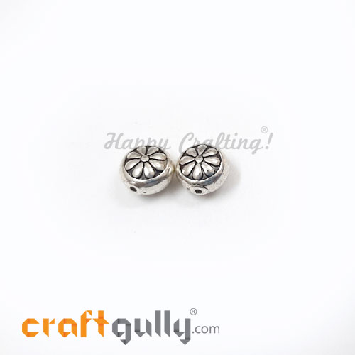 German Silver Beads 10mm - Flower #4 Silver Finish - 2 Beads