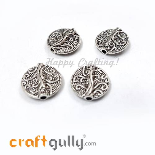 German Silver Beads 13mm - Tree Of Life Silver Finish - 4 Beads