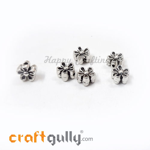 German Silver Beads 6.5mm - Flower #3 Silver Finish - 6 Beads