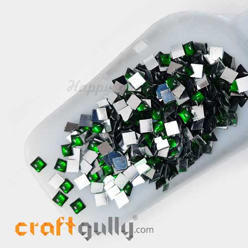 Kundan Stones 5mm Square - Green With Silver Back - 10gms