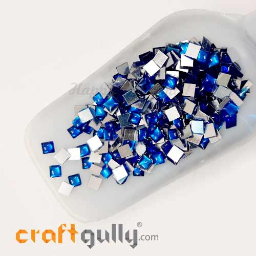 Kundan Stones 5mm Square - Royal Blue With Silver Back - 10gms