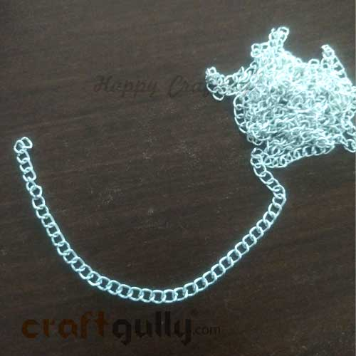 Chains - Oval Flat 4mm x 2.5mm - Silver Finish - 36 Inches