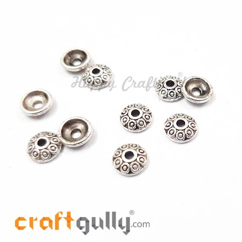 Bead Caps 6.5mm - German Silver Design #2 - Silver - Pack of 10