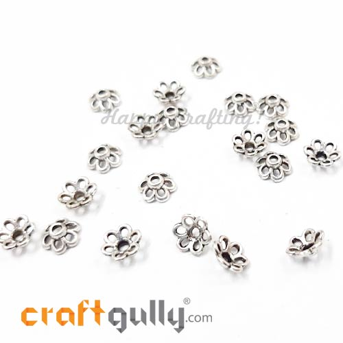 Bead Caps 6mm - German Silver Design #3 - Silver - Pack of 20
