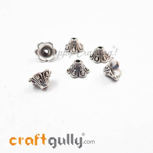 Bead Caps 9mm - German Silver Design #5 - Silver - Pack of 6
