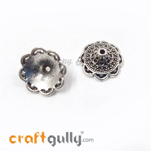 Bead Caps 14mm - German Silver Design #6 - Silver - Pack of 2