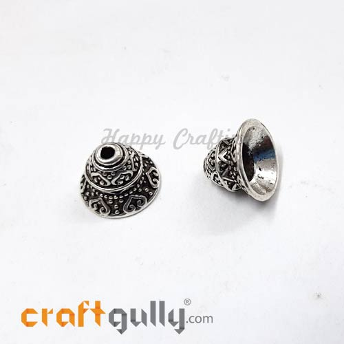 Bead Caps 13mm - German Silver Design #7 - Silver - Pack of 2