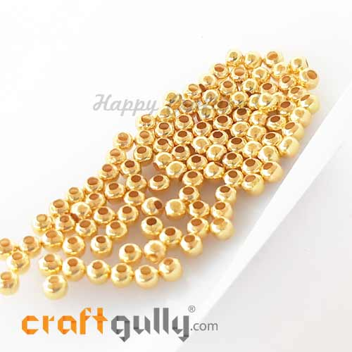 Metal Beads 3mm - Round Smooth - Golden Finish – 10gms