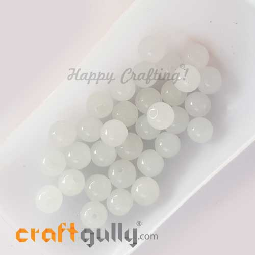 Glass Beads 8mm - Round Trans. White - 30 Beads