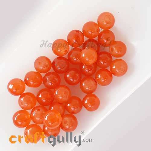 Glass Beads 8mm - Round Trans. Orange - 30 Beads