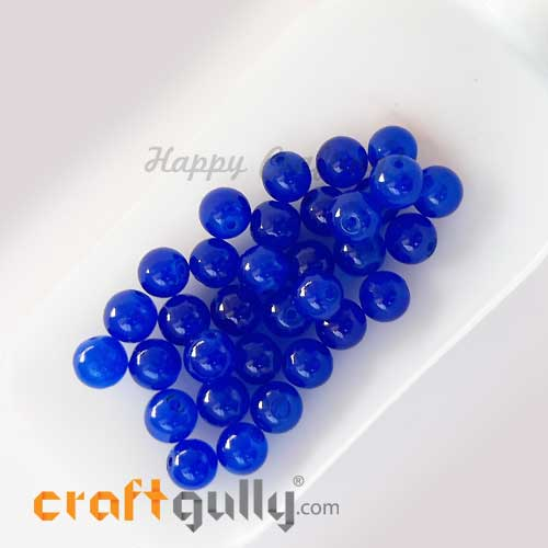 Glass Beads 8mm - Round Trans. Royal Blue - 30 Beads