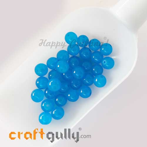 Glass Beads 8mm - Round Trans. Sea Blue #2 - 30 Beads