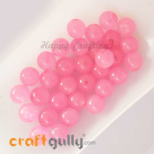 Glass Beads 8mm - Round Trans. Baby Pink #2 - 30 Beads