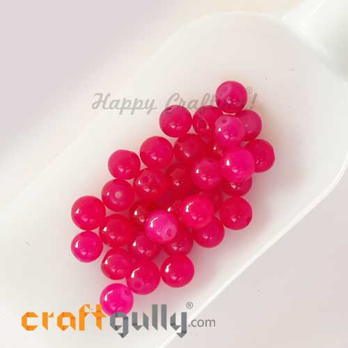 Glass Beads 8mm - Round Trans. Dark Pink #2 - 30 Beads