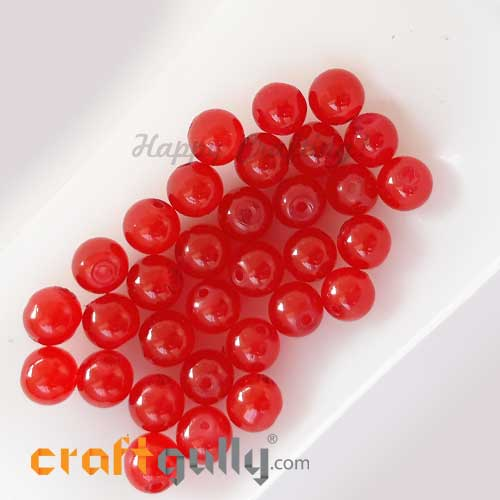 Glass Beads 8mm - Round Trans. Red #2 - 30 Beads