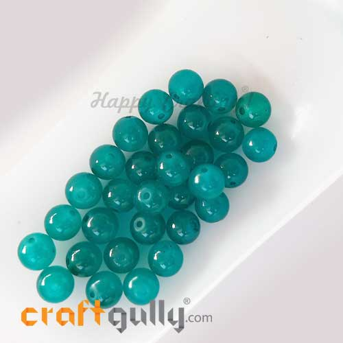 Glass Beads 8mm - Round Trans. Turquoise #2 - 30 Beads