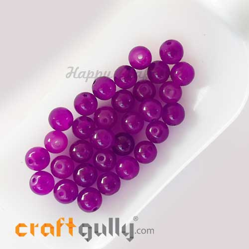 Glass Beads 8mm - Round Trans. Dark & Light Purple - 30 Beads