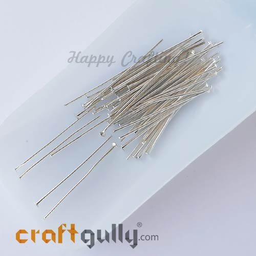 Head Pins - Flat 50mm - Silver Finish - Pack of 50