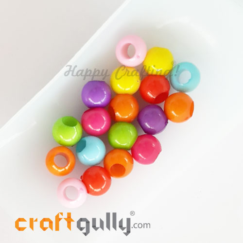 Acrylic Beads 9mm - Wide Hole - Assorted - Pack of 18
