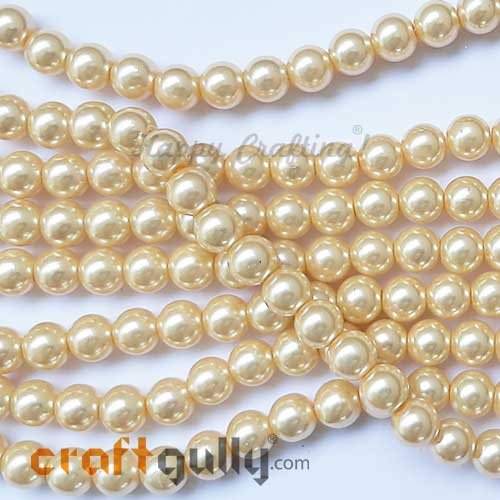 Glass Beads 7.5mm - Faux Pearl Round - Light Golden - 30 Beads