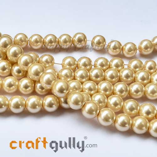 Glass Beads 8mm - Faux Pearl Round - Dark Golden - 30 Beads