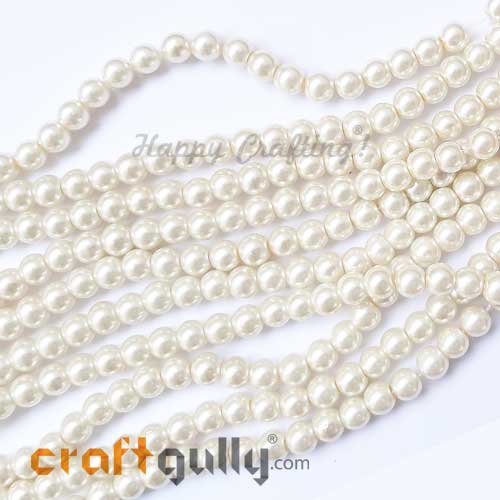 Glass Beads 6mm - Faux Pearl Round - Ivory - 40 Beads
