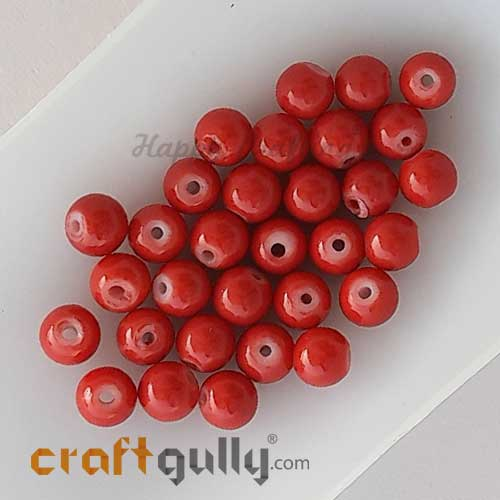 Glass Beads 6mm - Round - Red - 30 Beads