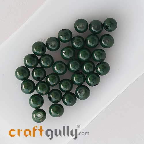 Glass Beads 6mm - Round - Dark Green - 30 Beads